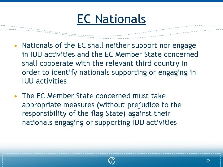 EC Nationals • Nationals of the EC shall neither support nor engage in IUU