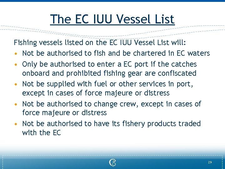 The EC IUU Vessel List Fishing vessels listed on the EC IUU Vessel List