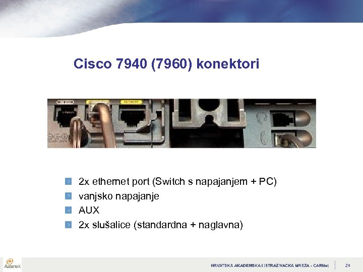 Cisco 7940 (7960) konektori 2 x ethernet port (Switch s napajanjem + PC) vanjsko