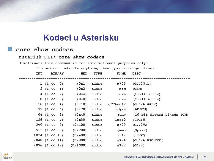 Kodeci u Asterisku core show codecs asterisk*CLI> core show codecs Disclaimer: this command is