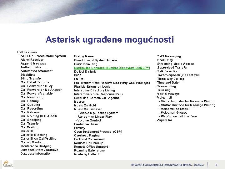 Asterisk ugrađene mogućnosti Call Features ADSI On-Screen Menu System Alarm Receiver Append Message Authentication