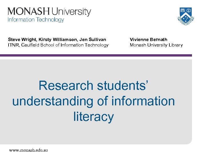 Steve Wright, Kirsty Williamson, Jen Sullivan ITNR, Caulfield School of Information Technology Vivienne Bernath