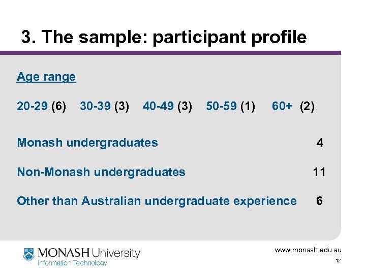 3. The sample: participant profile Age range 20 -29 (6) 30 -39 (3) 40