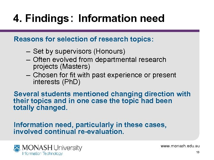 4. Findings: Information need Reasons for selection of research topics: – Set by supervisors