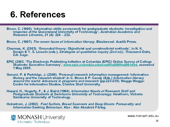 6. References Bruce, C. (1990). 'Information skills coursework for postgraduate students: investigation and response