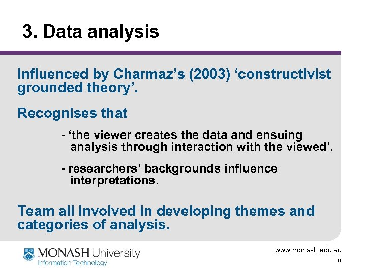 3. Data analysis Influenced by Charmaz's (2003) 'constructivist grounded theory'. Recognises that - 'the