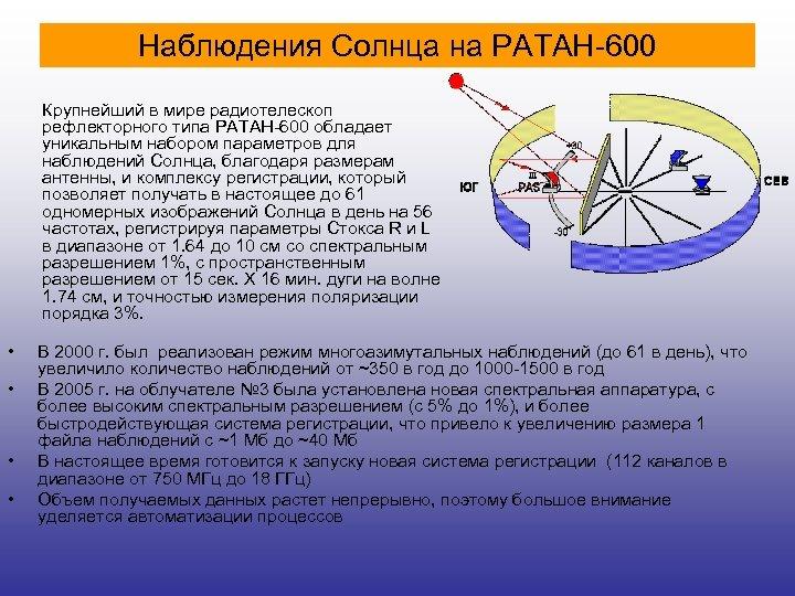 Наблюдения Солнца на РАТАН-600 Крупнейший в мире радиотелескоп рефлекторного типа РАТАН-600 обладает уникальным набором