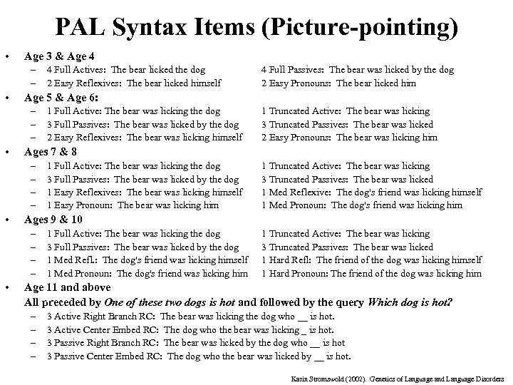 PAL Syntax Items (Picture-pointing) • Age 3 & Age 4 – – • 1
