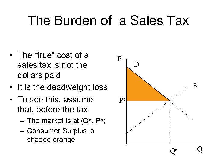 """The Burden of a Sales Tax • The """"true"""" cost of a sales tax"""