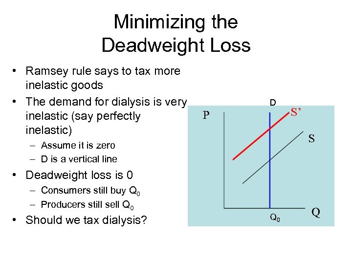 Minimizing the Deadweight Loss • Ramsey rule says to tax more inelastic goods •