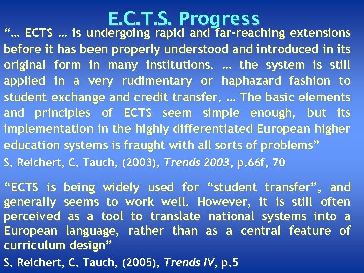 """E. C. T. S. Progress """"… ECTS … is undergoing rapid and far-reaching extensions"""