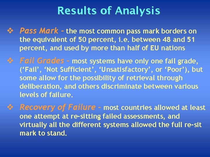 Results of Analysis v Pass Mark - the most common pass mark borders on