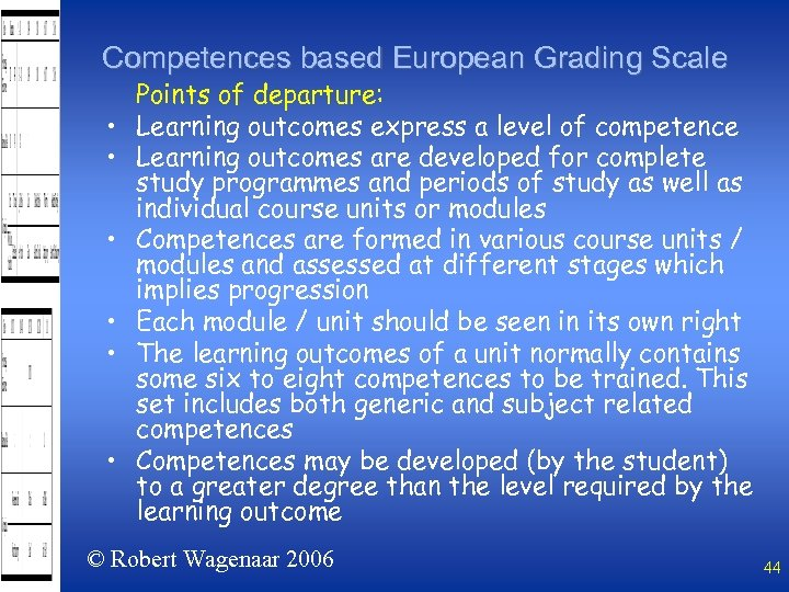 Competences based European Grading Scale • • • Points of departure: Learning outcomes express