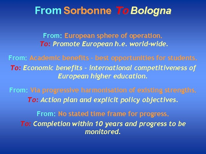 From Sorbonne To Bologna From: European sphere of operation. To: Promote European h. e.