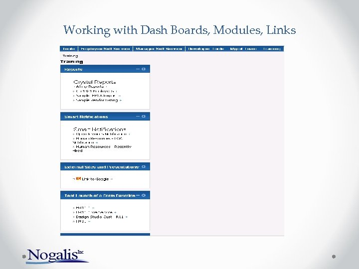 Working with Dash Boards, Modules, Links