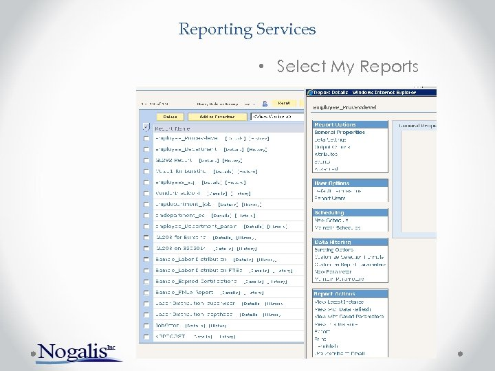 Reporting Services • Select My Reports