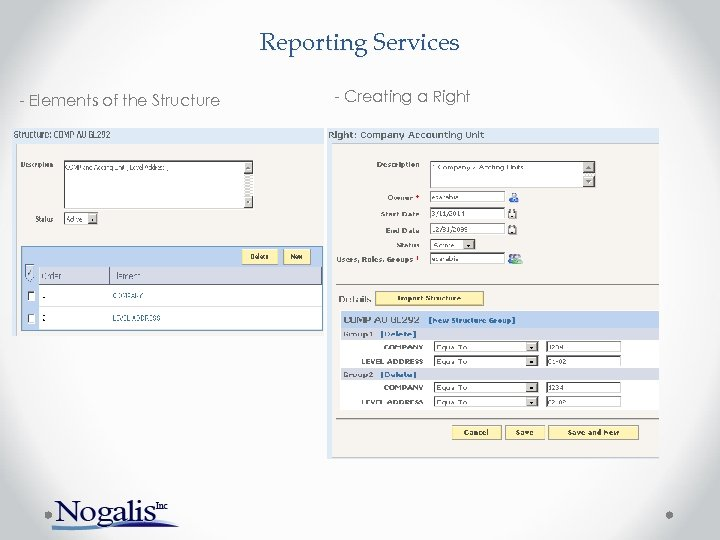 Reporting Services - Elements of the Structure - Creating a Right