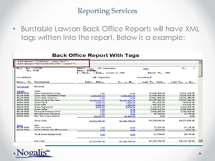 Reporting Services • Burstable Lawson Back Office Reports will have XML tags written into