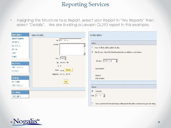 """Reporting Services • Assigning the Structure to a Report, select your Report in """"My"""