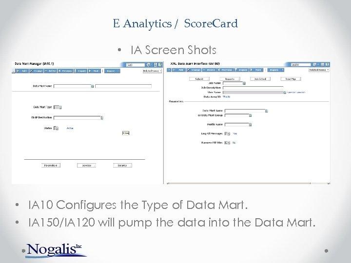 E Analytics / Score. Card • IA Screen Shots • IA 10 Configures the