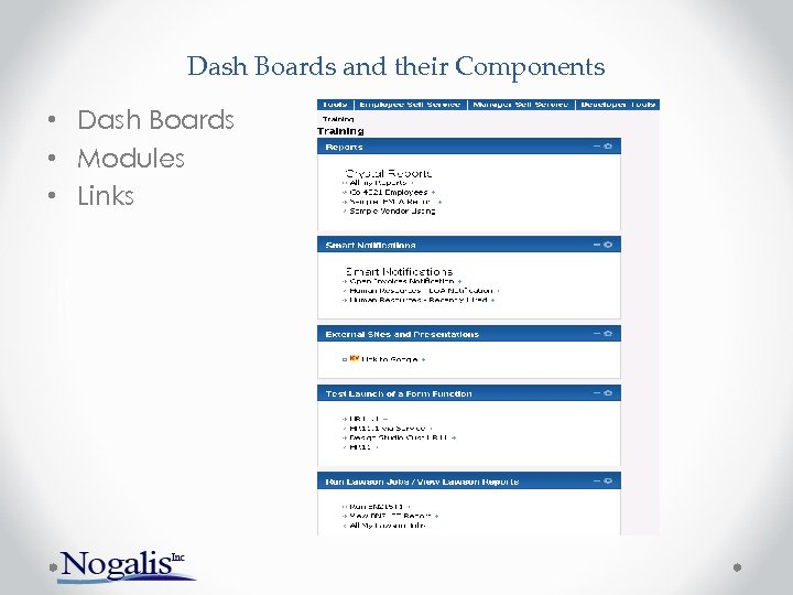 Dash Boards and their Components • Dash Boards • Modules • Links