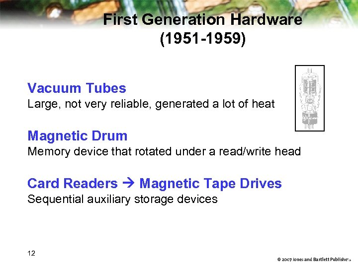 First Generation Hardware (1951 -1959) Vacuum Tubes Large, not very reliable, generated a lot