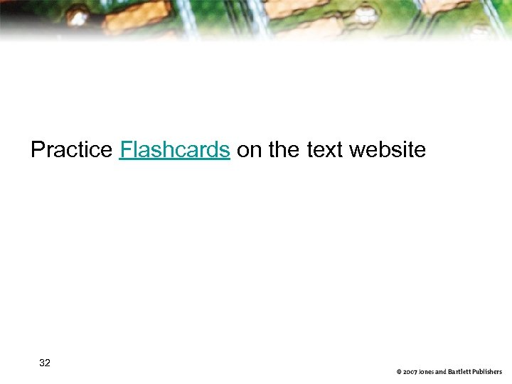 Practice Flashcards on the text website 32