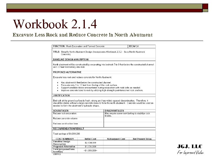 Workbook 2. 1. 4 Excavate Less Rock and Reduce Concrete in North Abutment