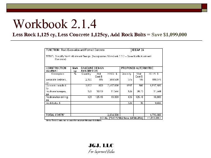 Workbook 2. 1. 4 Less Rock 1, 125 cy, Less Concrete 1, 125 cy,