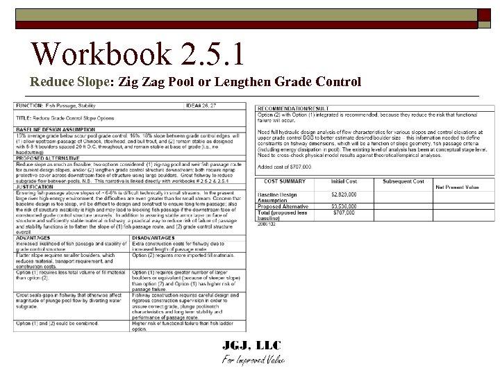 Workbook 2. 5. 1 Reduce Slope: Zig Zag Pool or Lengthen Grade Control