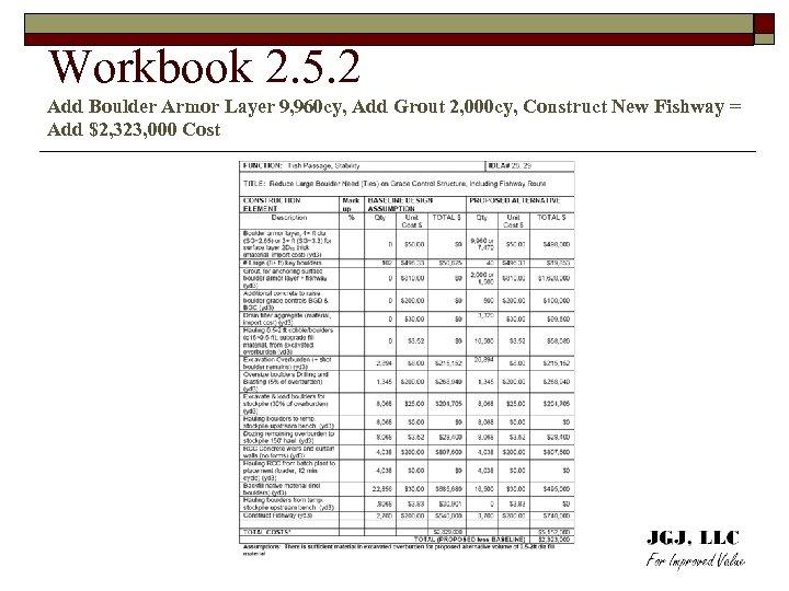 Workbook 2. 5. 2 Add Boulder Armor Layer 9, 960 cy, Add Grout 2,