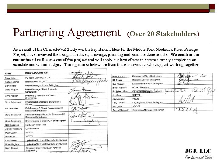 Partnering Agreement (Over 20 Stakeholders) As a result of the Charrette/VE Study we, the