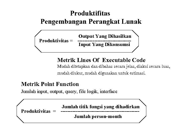 Produktifitas Pengembangan Perangkat Lunak Produktivitas = Output Yang Dihasilkan ----------------Input Yang Dikonsumsi Metrik Lines