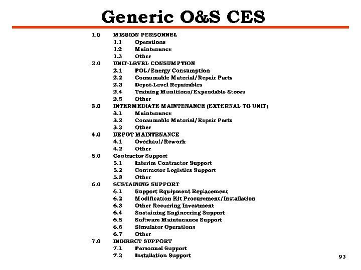 Generic O&S CES 93