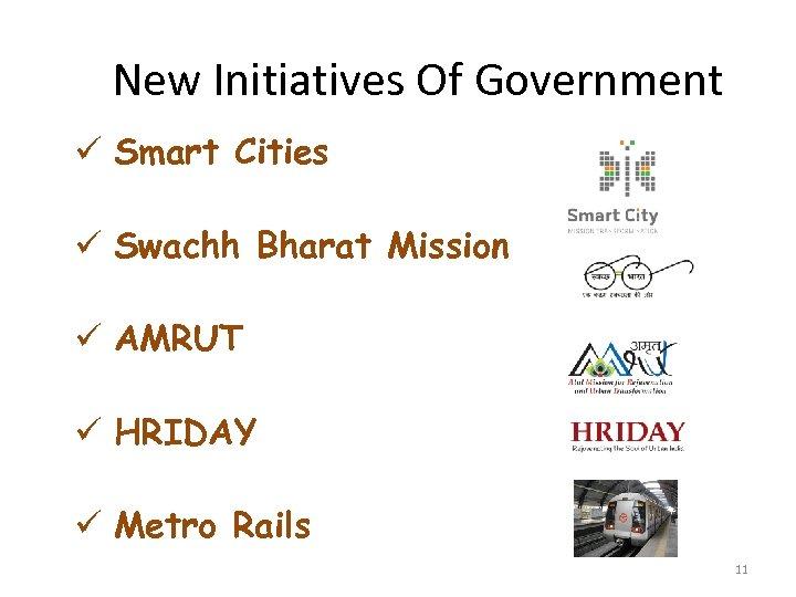 New Initiatives Of Government ü Smart Cities ü Swachh Bharat Mission ü AMRUT ü