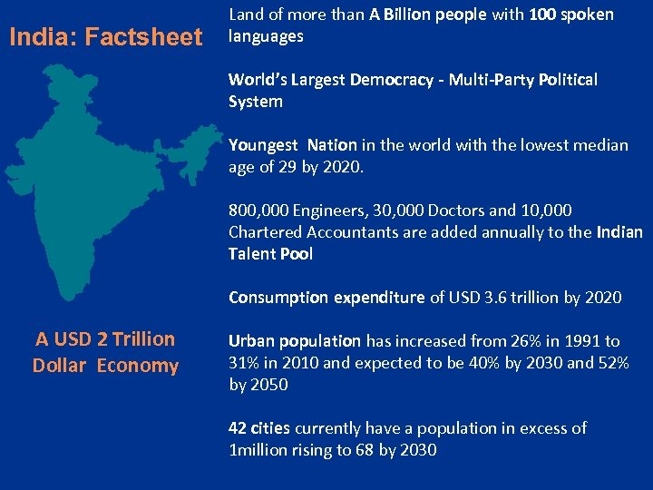 India: Factsheet Land of more than A Billion people with 100 spoken languages World's
