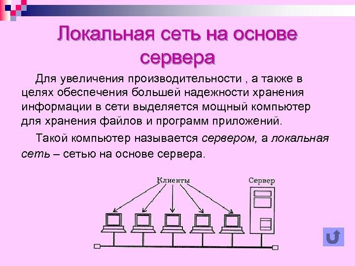 Локальная сеть на основе сервера Для увеличения производительности , а также в целях обеспечения