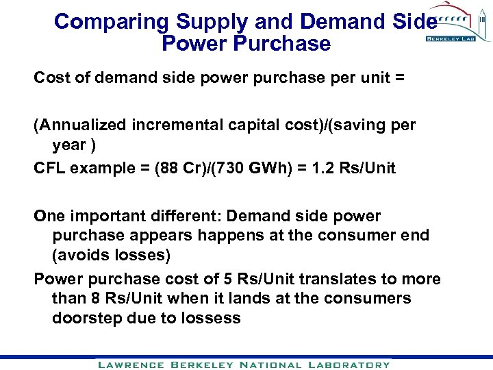 Comparing Supply and Demand Side Power Purchase Cost of demand side power purchase per