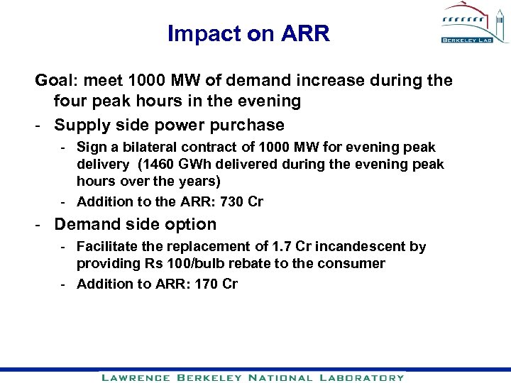 Impact on ARR Goal: meet 1000 MW of demand increase during the four peak