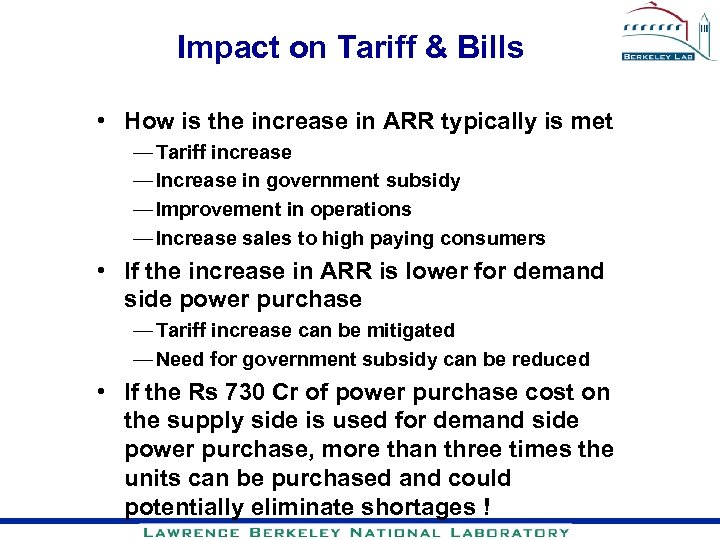 Impact on Tariff & Bills • How is the increase in ARR typically is