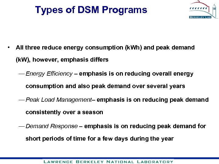 Types of DSM Programs • All three reduce energy consumption (k. Wh) and peak