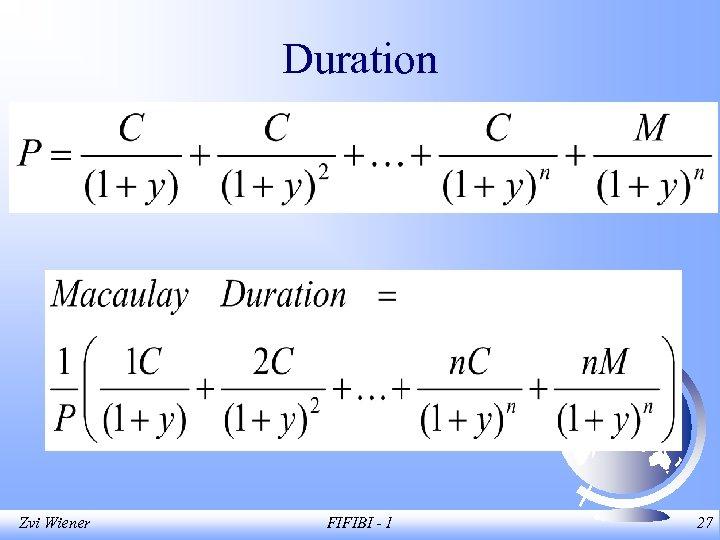 Duration Zvi Wiener FIFIBI - 1 27