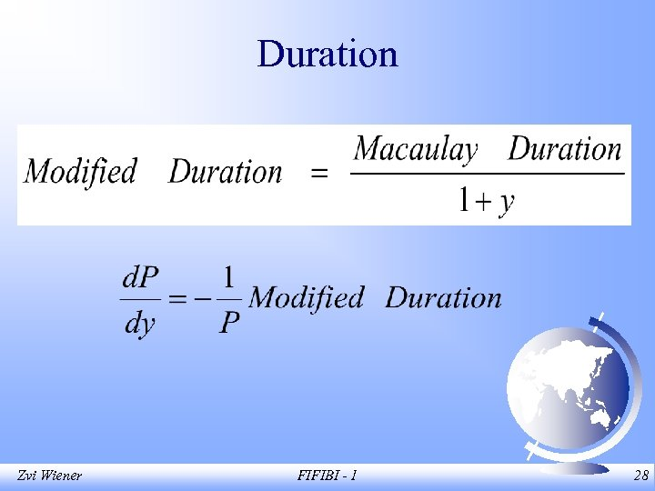 Duration Zvi Wiener FIFIBI - 1 28