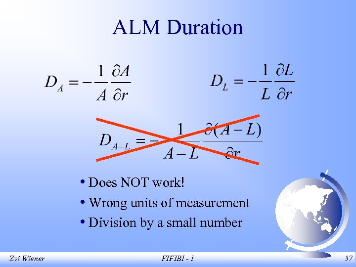 ALM Duration • Does NOT work! • Wrong units of measurement • Division by