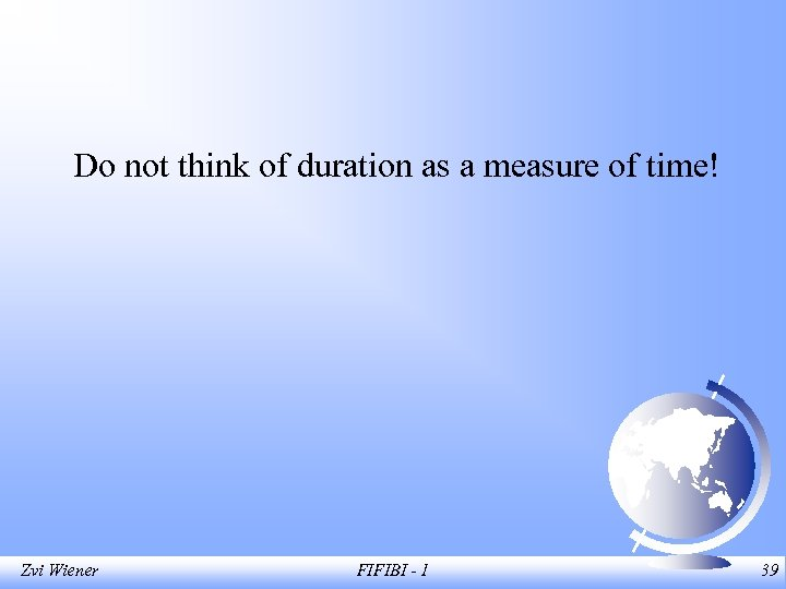 Do not think of duration as a measure of time! Zvi Wiener FIFIBI -