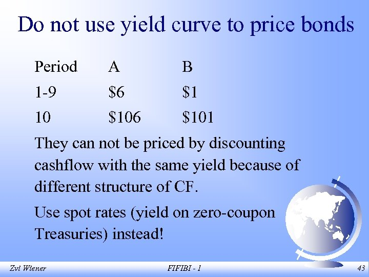 Do not use yield curve to price bonds Period A B 1 -9 $6