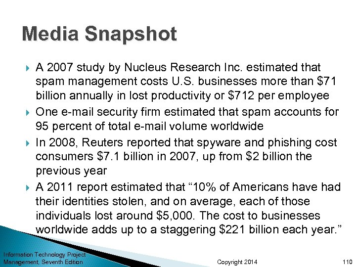 Media Snapshot A 2007 study by Nucleus Research Inc. estimated that spam management costs