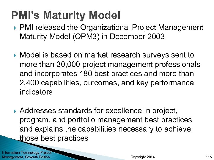 PMI's Maturity Model PMI released the Organizational Project Management Maturity Model (OPM 3) in