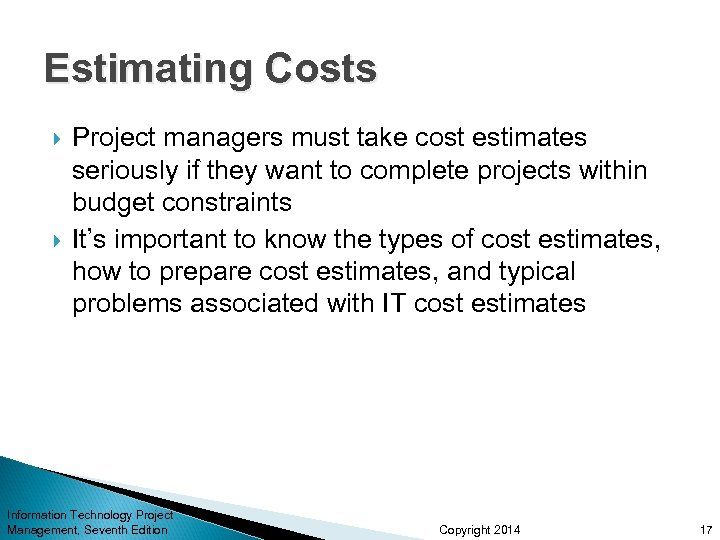 Estimating Costs Project managers must take cost estimates seriously if they want to complete