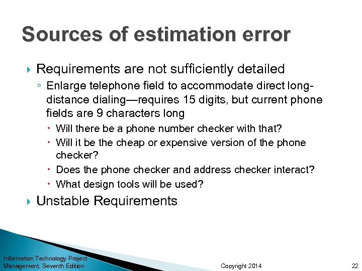 Sources of estimation error Requirements are not sufficiently detailed ◦ Enlarge telephone field to